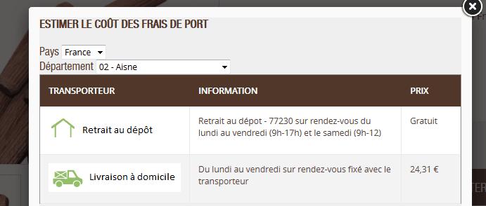 Simulateur de frais de port